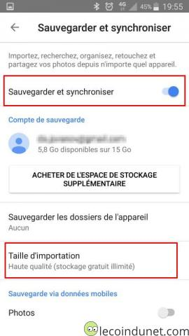 Google photos - Sauvegarder photos android