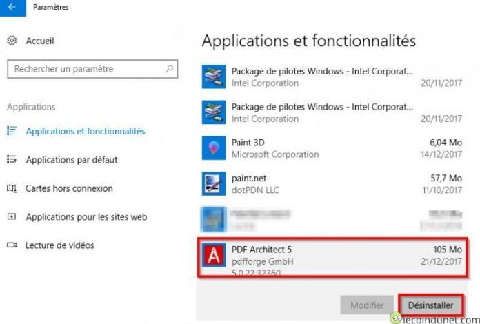 PDF Architect - Désinstaller par ajout suppression de programmes Windows