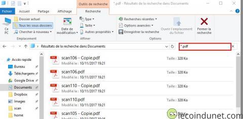 Windows 10 - Recherche fichiers pdf