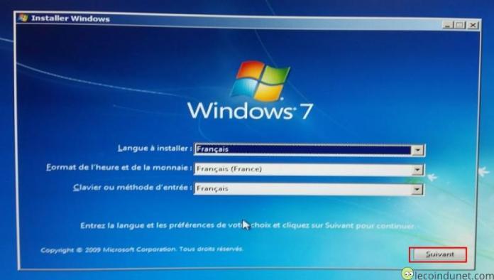 Windows 7 - Installer Windows sélection d'une langue