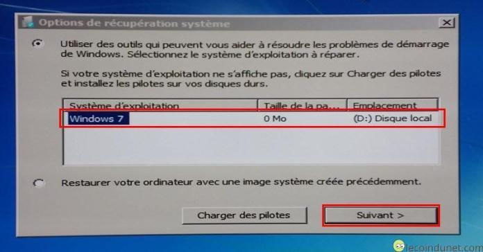 Windows 7 - Sélection d'une installation