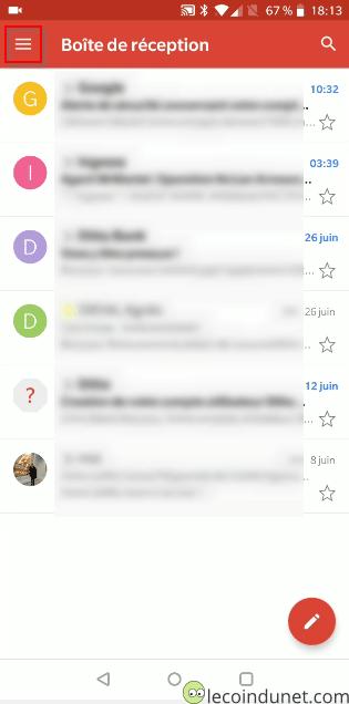 Gmail - Ecran d'accueil