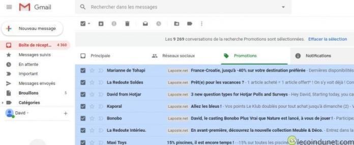 Gmail - Effacer sélection pour supprimer tous les mails