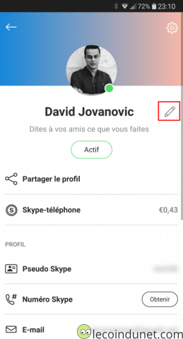 App Skype Android iOS - Modifier Pseudo
