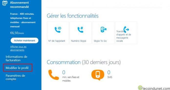 Skype - Lien modifier le profil