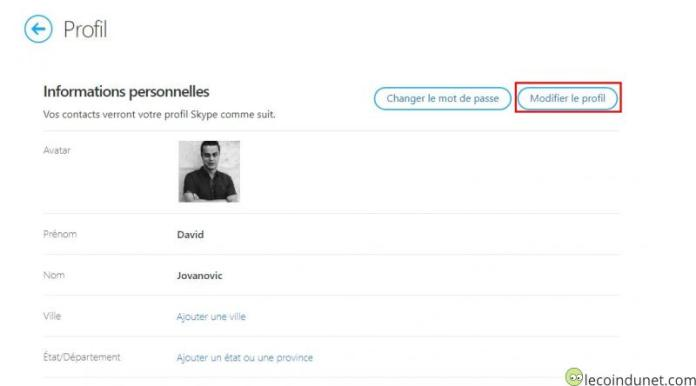 Skype - Modifier le profil