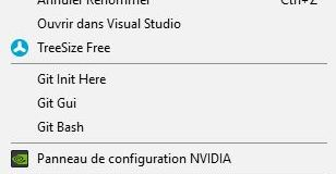 Exemple menu contextuel par un clic droit sur Windows
