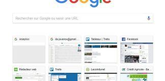 Google Chrome - Vignettes sur nouvel onglet
