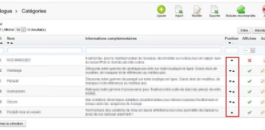 Prestashop - Modifier ordre catégories