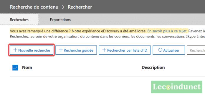 Office 365 - Recherche contenus - Nouvelle recherche