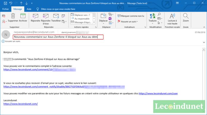 Modifier l'objet d'un mail reçu dans Outlook