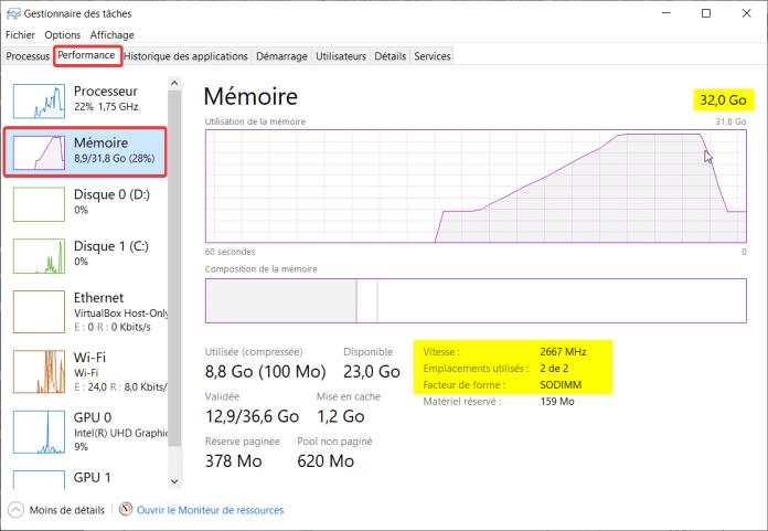Caractéristiques de la RAM depuis gestionnaire des tâches Windows