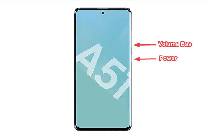 Capture d'écran sur Samsung A51 avec les touches