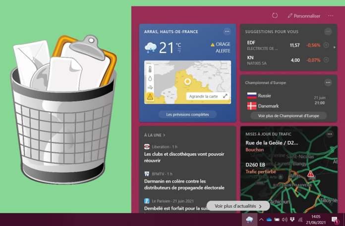 Supprimer l'icône météo de la barre des tâches Windows
