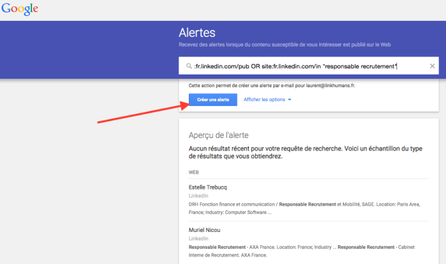 creer une alerte google profils linkedin viadeo