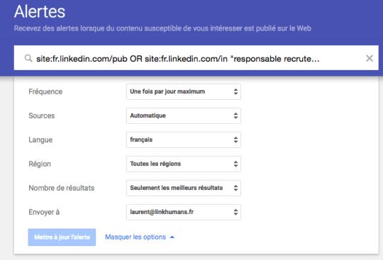 paramètres alerte google recruteur