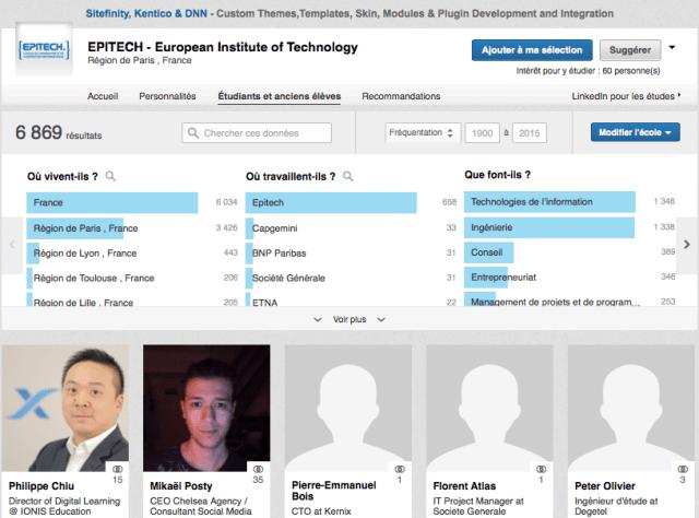 recrute pages université linkedIn