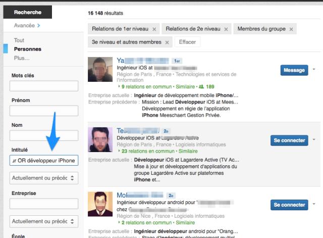 Requete LinkedIn dev iPhone