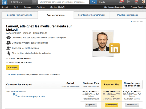 linkedin premium recrutement start-up