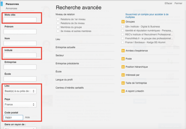 recherche linkedin avancee recrutement sourcing