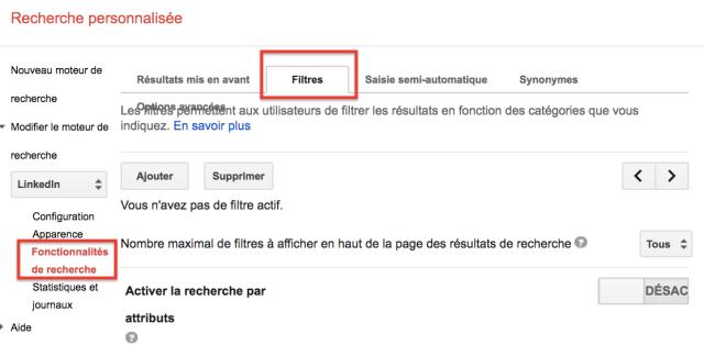 creer filtres Google CSE