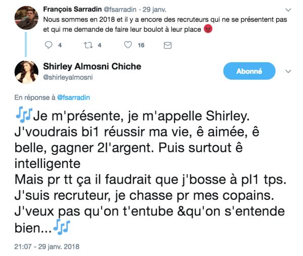 recruteuse repond a dev shirley almosni
