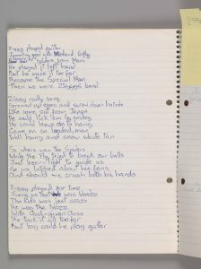 Ecrire des paroles : un manuscrit de David Bowie