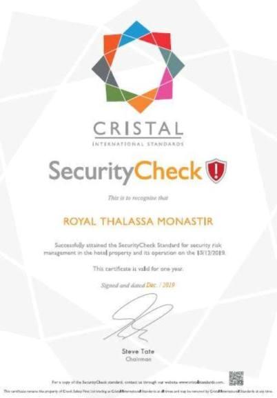 Royal Thalassa Monastir Certifications
