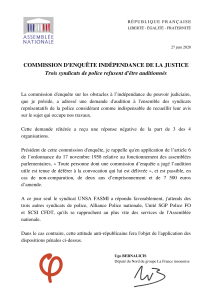 La lettre du député Bernacilis sur le refus des syndicats de police venir à la convocation de la commission d'enquête