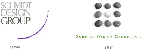 Schmidt Design Group logo (before and after)