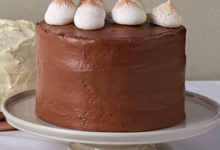Vanilla Cake With Chocolate Icing And Copper Dusted Meringues Le