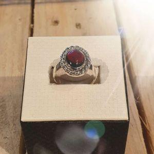 Bague  Femme argent  925 millième serti clos Grenat pierre naturelle