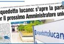 ACQUEDOTTO LUCANO: S'APRE LA PARTITA PER IL PROSSIMO AMMINISTRATORE UNICO