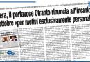 MATERA, IL PORTAVOCE OTRANTO RINUNCIA ALL'INCARICO DA OTTOBRE «PER MOTIVI ESCLUSIVAMENTE PERSONALI»
