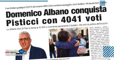 DOMENICO ALBANO CONQUISTA PISTICCI CON 4041 VOTI