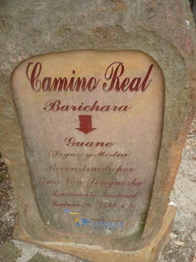 Placa camino Barichara a Guane Lenguerke