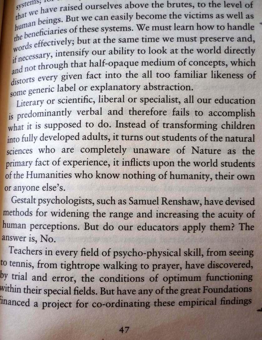 Huxley -Puertas de la percepción - educación