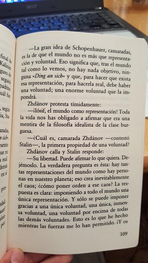 Cita textual del libro La fiesta de la insignificancia