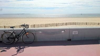 Un vélo attaché face à la mer