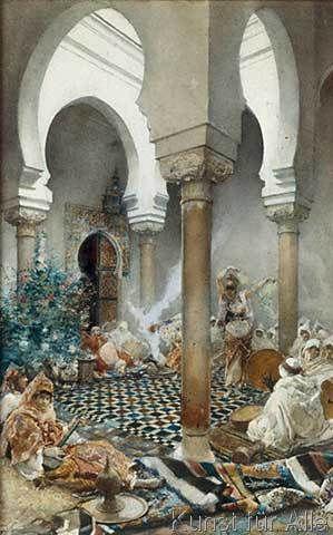 Nell'harem una awalim danza, circondata da musicisti e donne musicanti di Corte
