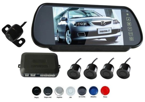Senzori parcare cu camera video si display LCD de 7 in oglinda S608