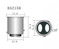Led auto Rosu BAZ15D High Power cu dubla intensitate si pini simetrici decalati