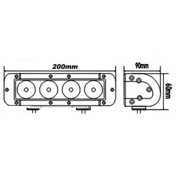 """LED Bar Auto Offroad 40W/12V-24V, 3400 Lumeni, 8""""/20 cm, Spot Beam 12 Grade PREMIUM"""