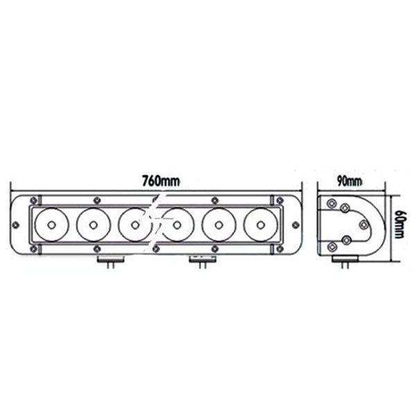 """LED Bar Auto Offroad 180W/12V-24V, 15300 Lumeni, 30""""/76 cm, Combo Beam 12/60 Grade PREMIUM"""