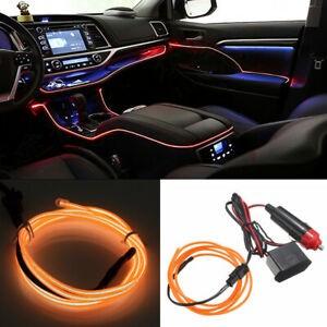 Fir neon auto electroluminiscent El Wire 2m cu lumina Portocalie cu droser si mufa bricheta HID