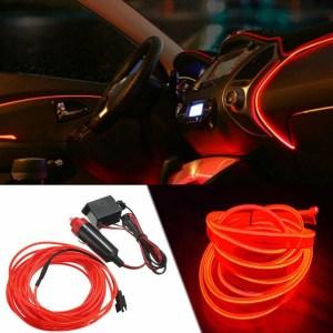 Fir neon auto electroluminiscent El Wire 2m cu lumina Rosie cu droser si mufa bricheta HID