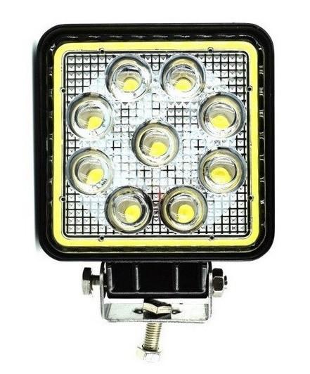 Proiector LED Auto Offroad Cu Angel Eyes 27W/12V-24V, 1980 Lumeni, Patrat, Spot Beam 30 Grade PREMIUM