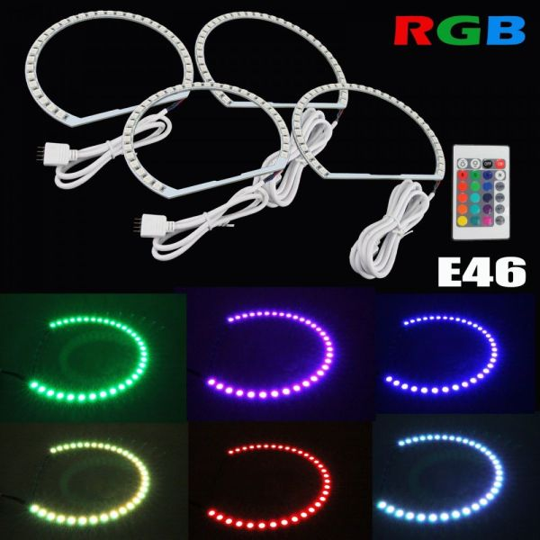 Kit Angel Eyes LED SMD BMW E36 RGB cu 16 culori cu telecomanda PREMIUM