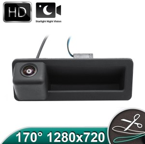 Camera marsarier HD, unghi 170 grade, cu StarLight Night Vision pentru E39, E60, E90, E70 pe manerul de portbagaj PREMIUM