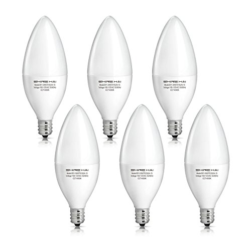 shine hai candelabra led bulbs 40w equivalent 4000k neutral white decorative candle light bulb e12
